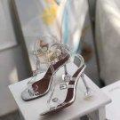 New Season Amina Muaddi Robyn Glass Sandals Transparent Pvc White Crystal Buckles Shoes