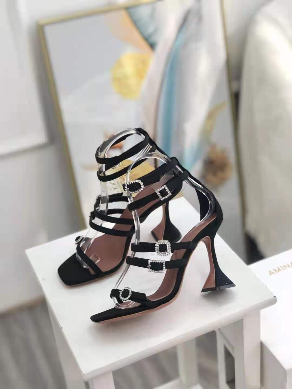 New Season Amina Muaddi Robyn Sandals Black Satin White Crystal Buckles Shoes