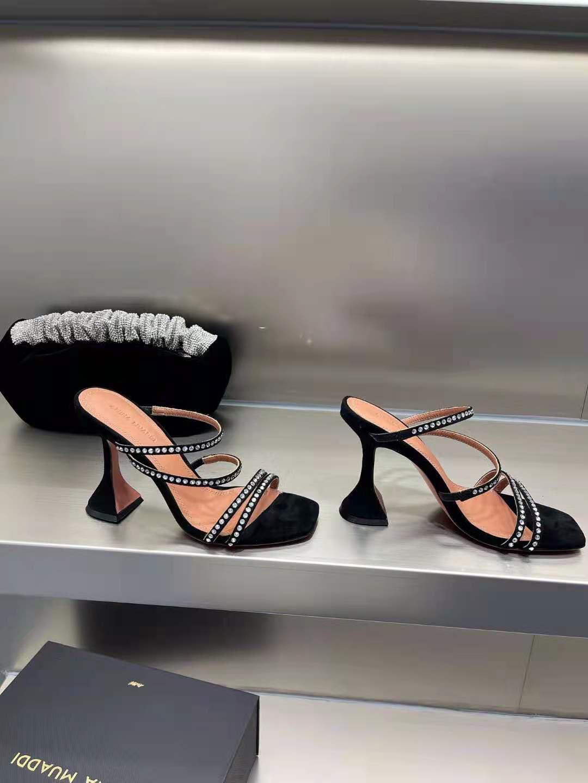 New Season Amina Muaddi Naima Crystal Sandal Black Satin White Crystals Shoes