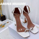 Women's Shoes Amina Muaddi Sandals Crystal Strap Buckle 9.5cm Heels White Shoes