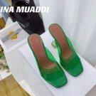Women's Shoes Amina Muaddi Sandals Lupita Glass Lilac Pvc Slippers Green