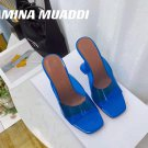 Women's Shoes Amina Muaddi Sandals Lupita Glass Lilac Pvc Slippers Blue