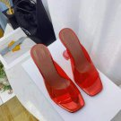 Women's Shoes Amina Muaddi Sandals Lupita Glass Lilac Pvc Slippers Red