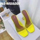 Women's Shoes Amina Muaddi Sandals Lupita Glass Lilac Pvc Slippers Yellow