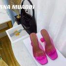 Women's Shoes Amina Muaddi Sandals Lupita Glass Lilac Pvc Slippers Pink