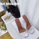 Women's Shoes Amina Muaddi Sandals Lupita Glass Lilac Pvc Slippers Clear