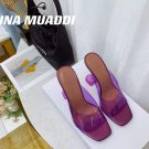 Women's Shoes Amina Muaddi Sandals Lupita Glass Lilac Pvc Slippers Purple