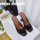 Women's Shoes Amina Muaddi Sandals Lupita Glass Lilac Pvc Slippers Black
