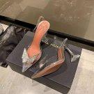 Women's Shoes Amina Muaddi Clear Awge Phoenix Crystal-embellished Bow-detailed Pvc Slingback Pumps