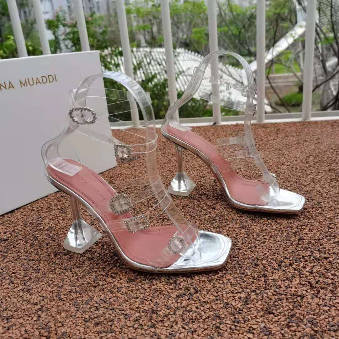 Women's Shoes Amina Muaddi Robyn Glass Sandals Transparent Pvc White Crystal Buckles