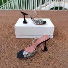 Women's Shoes Amina Muaddi Paloma Slipper Black Suede White Crystals