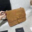 Fashion Handbag Saint Paris Laurent Le Carre Satchel Crossbody Bag Brown Genuine Tan Suede Leather