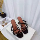 Women's Shoes Amina Muaddi Robyn Slipper Black Satin White Crystal Buckles Sandals