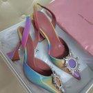Women's Shoes Amina Muaddi Pumps Begum Sling Shadow Rainbow Multicolor