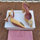 Women's Shoes Amina Muaddi Pumps Begum Crystal-embellished Satin Slingback Sandals Yellow