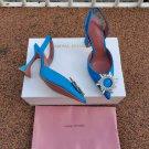 Women's Shoes Amina Muaddi Begum Pumps Sling Blue Satin Wedding Sandals