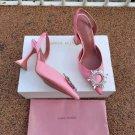 Women's Shoes Amina Muaddi Pumps Begum Slingback Heels Light Pink Crystal Sandals