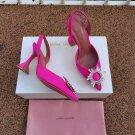Women's Shoes Amina Muaddi Pumps Pink Satin Begum Crystal Embellishments Slingback Sandals