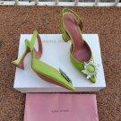 Women's Shoes Amina Muaddi Pumps Begum Green Satin Heels Sandals