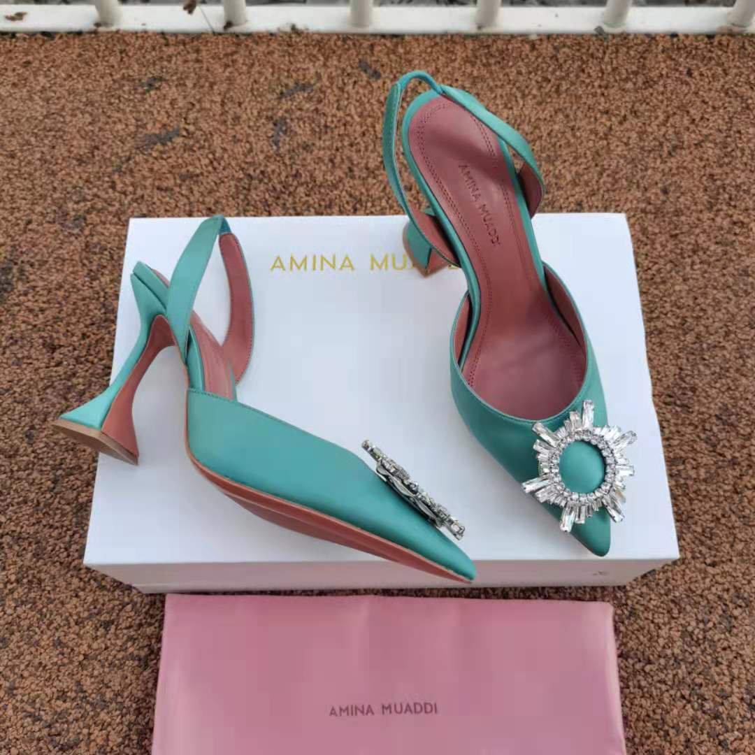 Women's Shoes Amina Muaddi Pumps Water Green Silk Satin Slingback Sculptural Heel Crystal Sandals