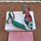 Women's Shoes Amina Muaddi Pumps 95mm Begum Satin Slingback Sandals Fashion