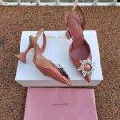 Women's Shoes Amina Muaddi Begum Satin Slingback Pumps Fashion Crytal Sandals