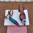 Women's Shoes Amina Muaddi Pumps Begum Crystal Rainbow Sandals 95 slingback Metallic