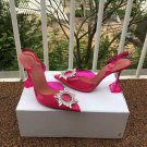 Women's Shoes Amina Muaddi Begum Crystal-embellished PVC Slingback Pumps Pink