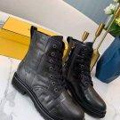 Signature Black Leather Biker Boots Lace-up Ankle Biker Boots Ff Motif Italy Zip Shoes