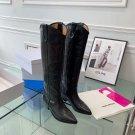 Women Shoes Isabel Marant Lihana Boots Black Leather Denvee Knee-high Western Boots