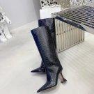 Women Shoes Italy Amina Muaddi Boots Crocodile Black Leather