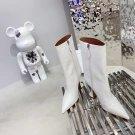 Women Shoes Amina Muaddi Boots Giorgia White Croc Crocodile Leather Ankle Boots