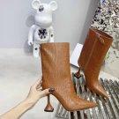 Women Shoes Amina Muaddi Boots Giorgia Brown Croc Crocodile Leather Ankle Boots