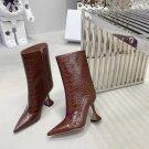 Women Shoes Amina Muaddi Boots Giorgia Fashion Croc Crocodile Leather Ankle Boots