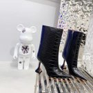 Women Shoes Amina Muaddi Boots Giorgia Black Croc Crocodile Leather Ankle Boots