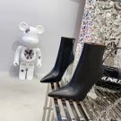 Women Shoes Amina Muaddi Giorgia Ankle Boots Black Genuine Leather Clear Sculpted Heel