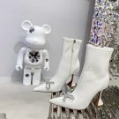 Women Shoes Amina Muaddi Ankle Boots Crystal Bow White