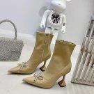 Women Shoes Amina Muaddi Ankle Boots Crystal Bow Fashion