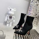 Women Shoes Amina Muaddi Ankle Boots Crystal Bow Black