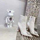 Women Shoes Amina Muaddi Ankle Boots Crystal Sunflower White