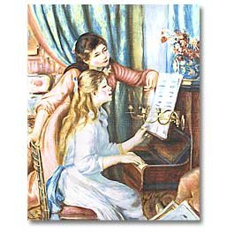 Impressionist Woman and Girl At Piano Panel