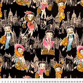 Betty Boop In the City On Black 36x60