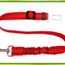 Pet car safety belt dog traction buffer elastic reflective traction rope dog rope - color:red