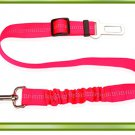 Pet car safety belt dog traction buffer elastic reflective traction rope dog rope - color:pink