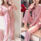 Pajama long sleeve long pants thin sexy ice silk two piece Sleeping suit -color:pink
