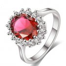 same style as Princess Kate wedding ring.Platinum plated and set with zircon - color:red