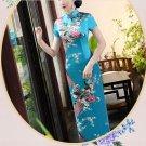 long cheongsam Chinese characteristics digital printed cheongsam skirt Knee-Length Dress -color:blue
