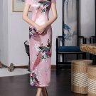 long cheongsam Chinese characteristics digital printed cheongsam skirt Knee-Length Dress -color:pink