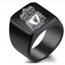 Premier League Liverpool football team FC badge ring titanium steel ring fan ring -color:black