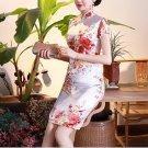 Chinese characteristics cheongsam digital printed  skirt Knee-Length Dress -color:white-No.1